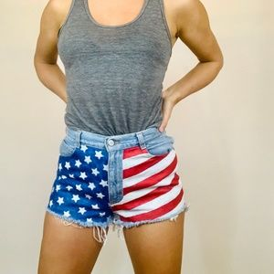 Gitano vintage American flag denim shorts small